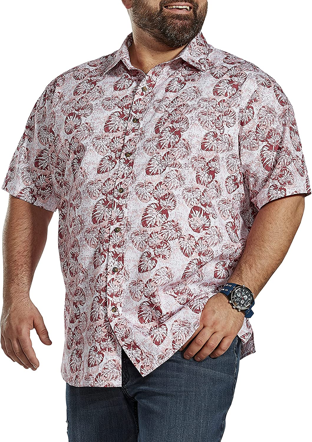 Oak Hill by DXL Big and Tall Washed Floral Print Sport Shirt, Pink Red