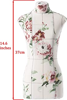 Mini Premium Half-Scale 1:2 to XS/Size 4 Professional Fully Pinnable Tailor Form Floral Flexible Dress Form Sewing Mannequin Dummy Female Dressmaker Torso
