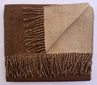 100% Baby Alpaca Throw Blanket, Double Face Throw, More Durable Than Cashmere (Beige & Brown)