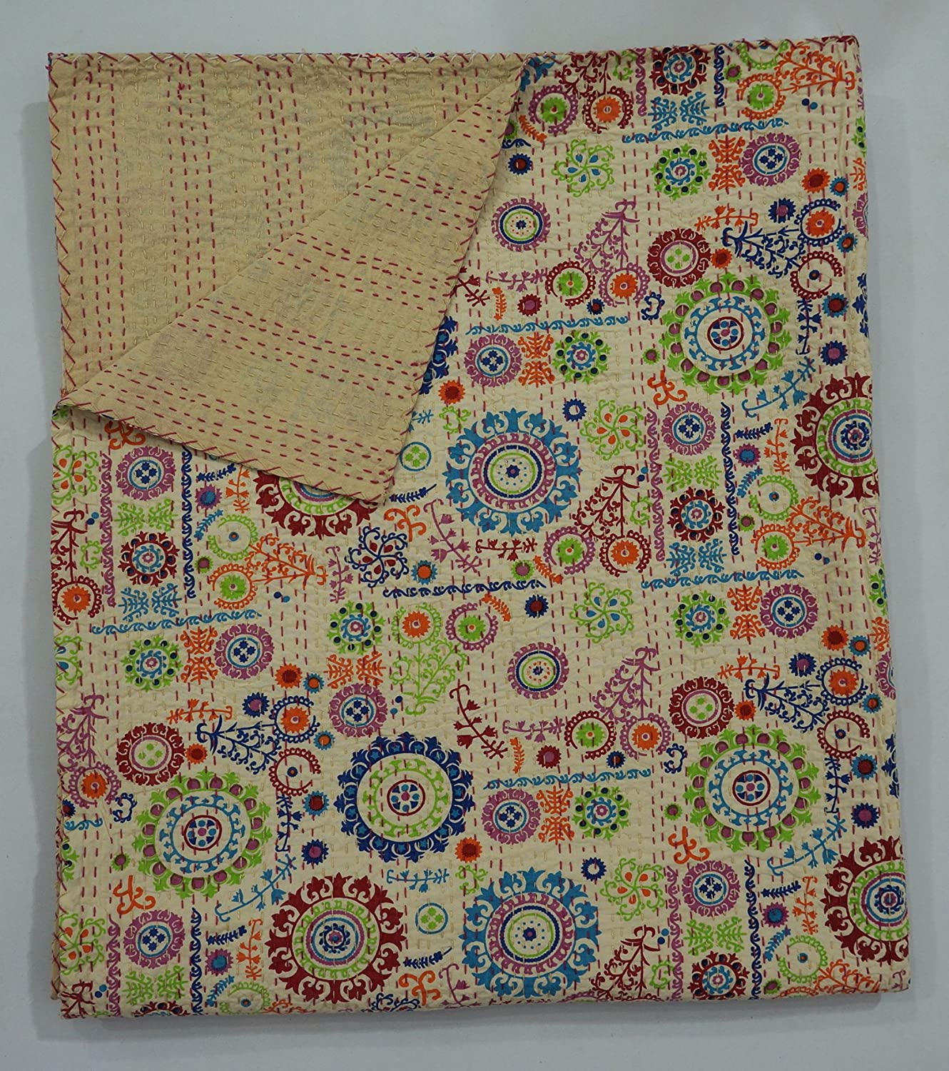 The Ethnic Crafts Beige Floral Print Quil Handmade Kantha Some reservation Suzani National uniform free shipping