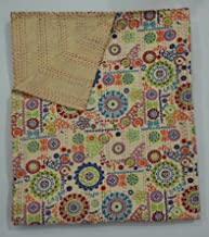 The Ethnic Crafts Beige Floral Print Handmade Suzani Kantha Quilt, Indian Traditional Home Decor Kantha Bed-Cover, Queen Size Blanket
