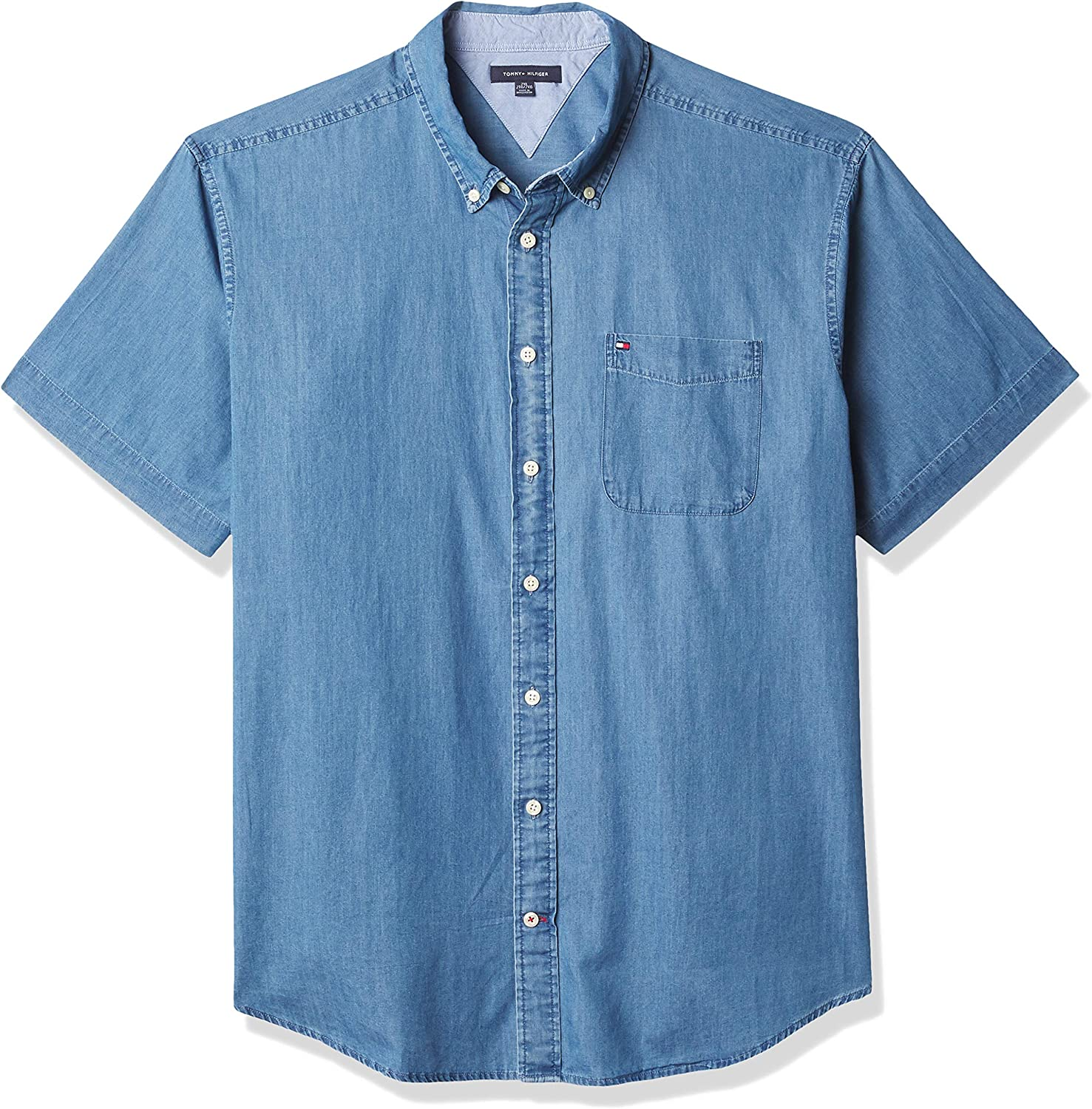 Tommy Hilfiger Big & Tall Men's Big and Tall Short Sleeve Button Down Shirt in Custom Fit