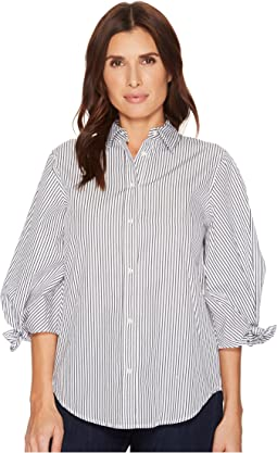 Striped Tie-Sleeve Cotton Shirt