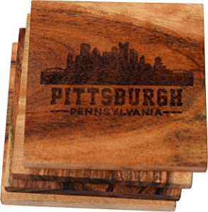 Pittsburgh Coasters, Pittsburgh Skyline Drink Coasters – Pittsburgh Gifts & Souvenirs, Engraved Acacia Wood Coasters with Pittsburgh Skyline – Pittsburgh Themed Gifts, Pennsylvania Gifts (Set of 4)