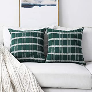 Home Brilliant 2 Pack Modern Farmhouse Decorative Throw Pillow Covers Cushion Covers for Bench, 18 x 18 inches(45x45cm), Dark Green