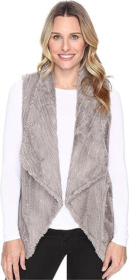 Dylan by True Grit - Silky Faux Fur Vintage Drape Vest