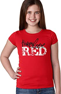 CornBorn Nebraska Huskers Go Big Huskers Love Red Youth Girls Tee Shirt