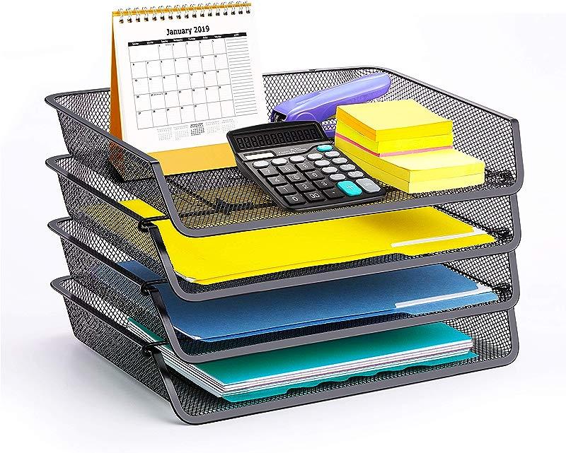 4 Pack Simple Trending Stackable Office Desk Supplies Organizer Desktop File Letter Tray Holder Organizer Black