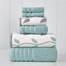 Amrapur Overseas 6-Piece Yarn Dyed Organic Vines Jacquard/Solid Ultra Soft 500GSM 100% Combed Cotton Towel Set [Aqua]