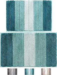 "wovwvool Bathroom Rugs Plush mat Polyester Microfiber Non-Slip,Soft,Absorbent and Machine (20""×32"" and 18""×26"" Aqua Green)"