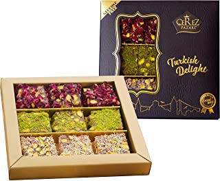 Best Cerez Pazari Turkish Delight Pistachio with Fantastic Rose & Pomegranate Flavour Experience in Luxury Gift Box 8.8 oz | Assorted Gourmet Soft Candy, Sweet Vegan Traditional Lokum (Loukoumi) (9-11 Pcs) Review