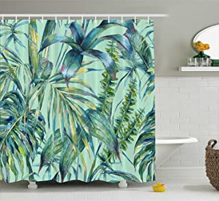 Manerly Shower Curtain with Green Tropical Leaves Pattern,Polyester Fabric Waterproof Bath Curtains, 72 by 72 Inches,Hooks Included
