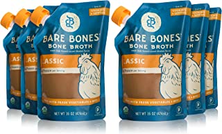 Bare Bones Organic Chicken Bone Broth – Certified Organic, Chicken Bone Broth, Protein/Collagen-rich, 16 oz (6-pack)