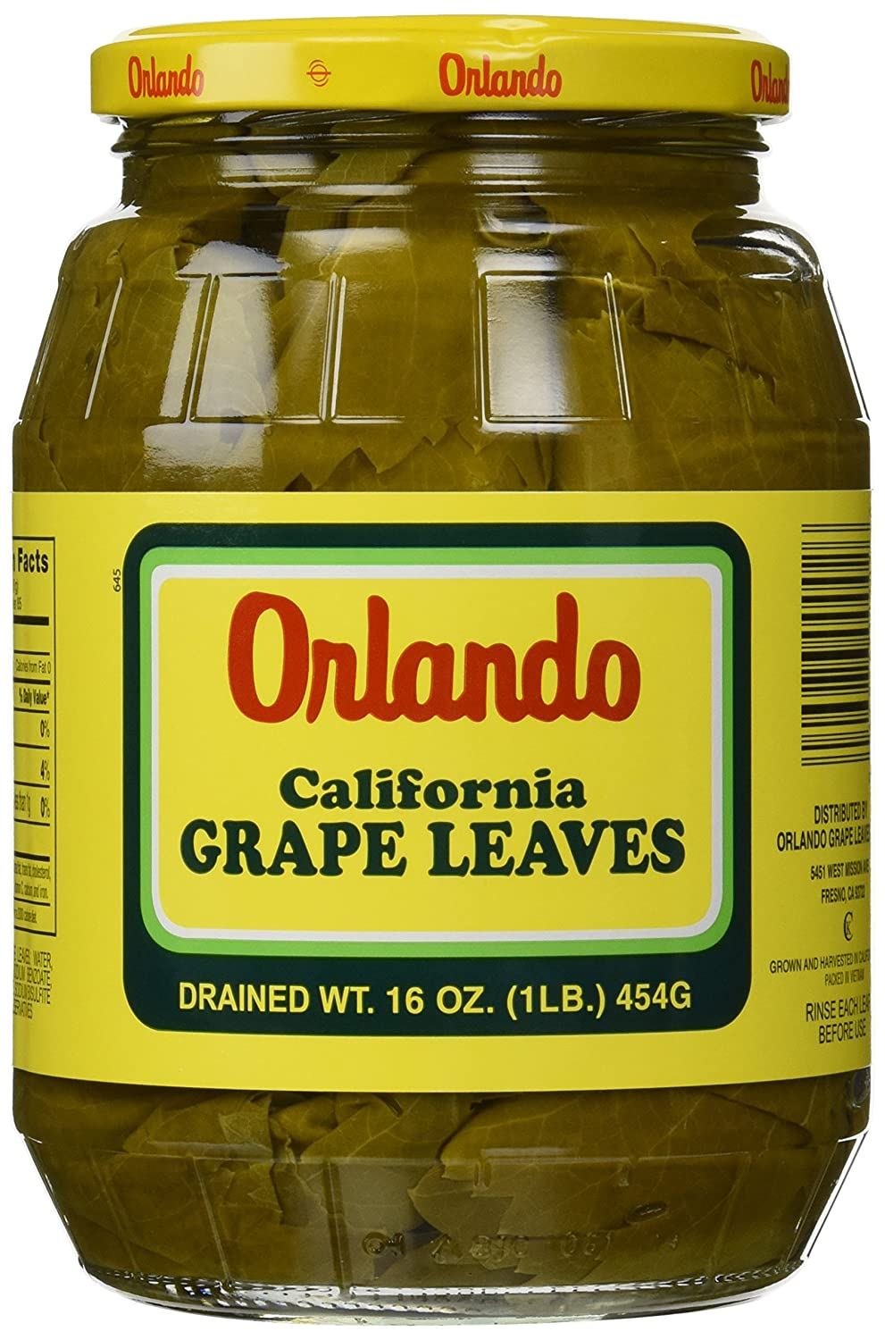 California Grape Leaves Orlando 2lb Jar Dr Wt 16oz Amazon Com Grocery Gourmet Food