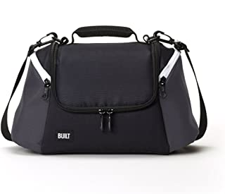 Built NY 5227344 All Day Water-Resistant Insulated Fabric Lunch Bag with Zip Closure and Removable Shoulder Strap, 12-Inch, Black