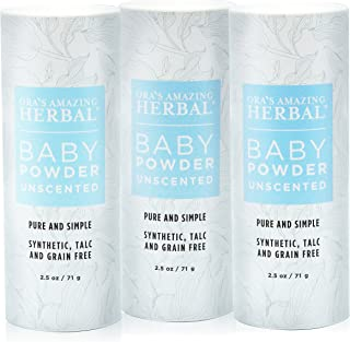 Ora's Amazing Herbal Talc-Free Grain-Free Gluten-Free Corn-Free Baby Powder 2.5oz … (Unscented 3 Pack)