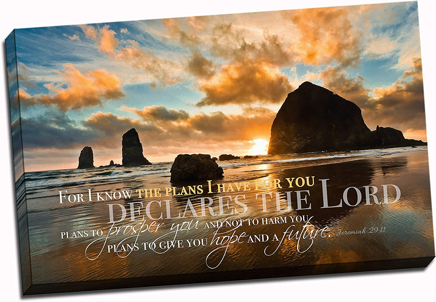 Christian Wall Art Canvas - For I Know The Plans I Have For You, Jeremiah 29:11, Faith Art, Bible Verse Wall Decor, Scripture Canvas, Ocean Scene (16x24)