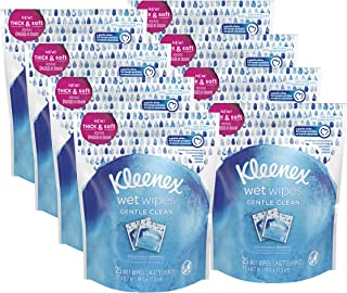 Kleenex Wet Wipes Gentle Clean For Hands And Face, 8 resealable pouches of 25 individually wrapped wipes (200 total wipes)