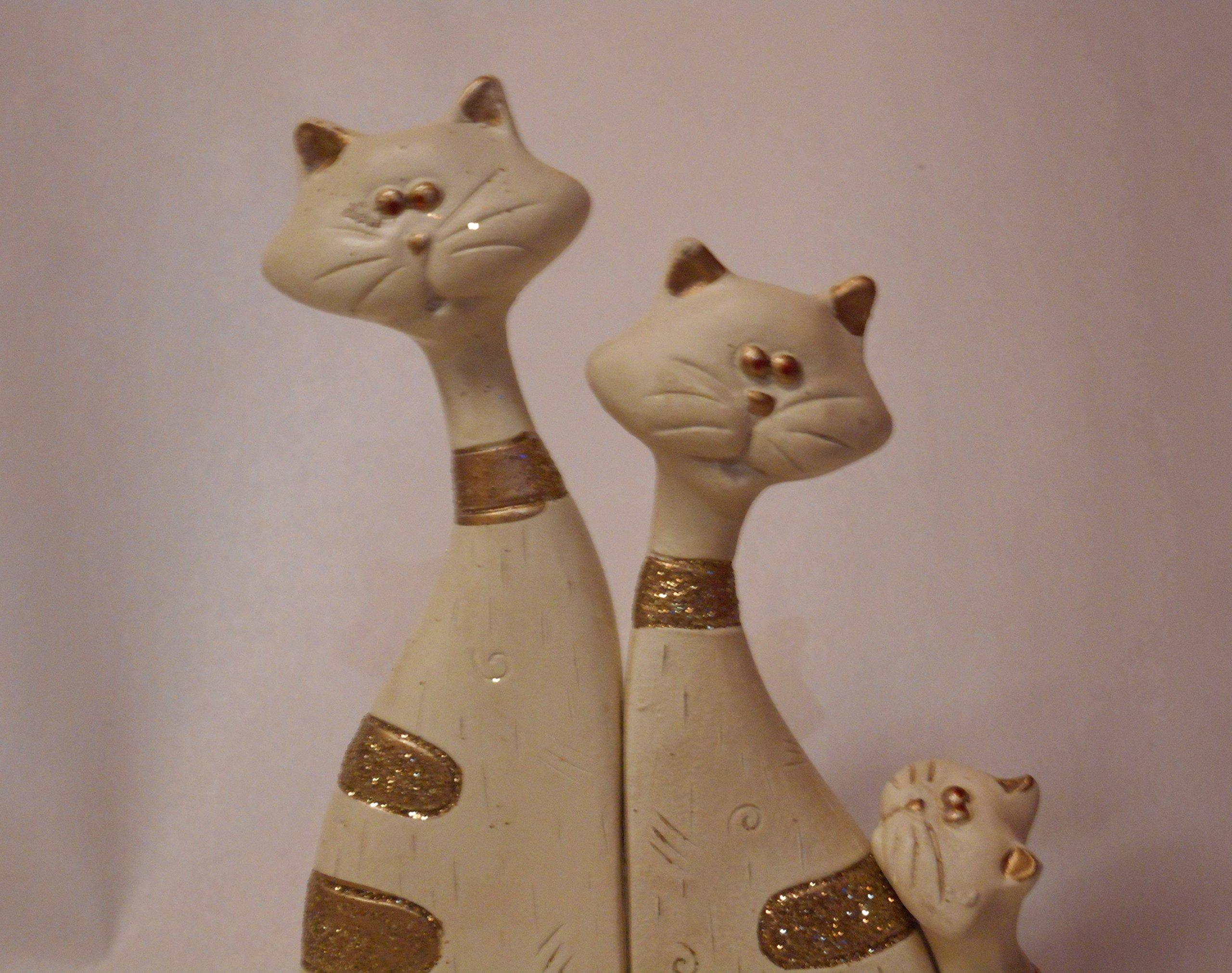 Familia de gato Trio Blanco con Glitter Efecto cerámica: Amazon.es: Hogar