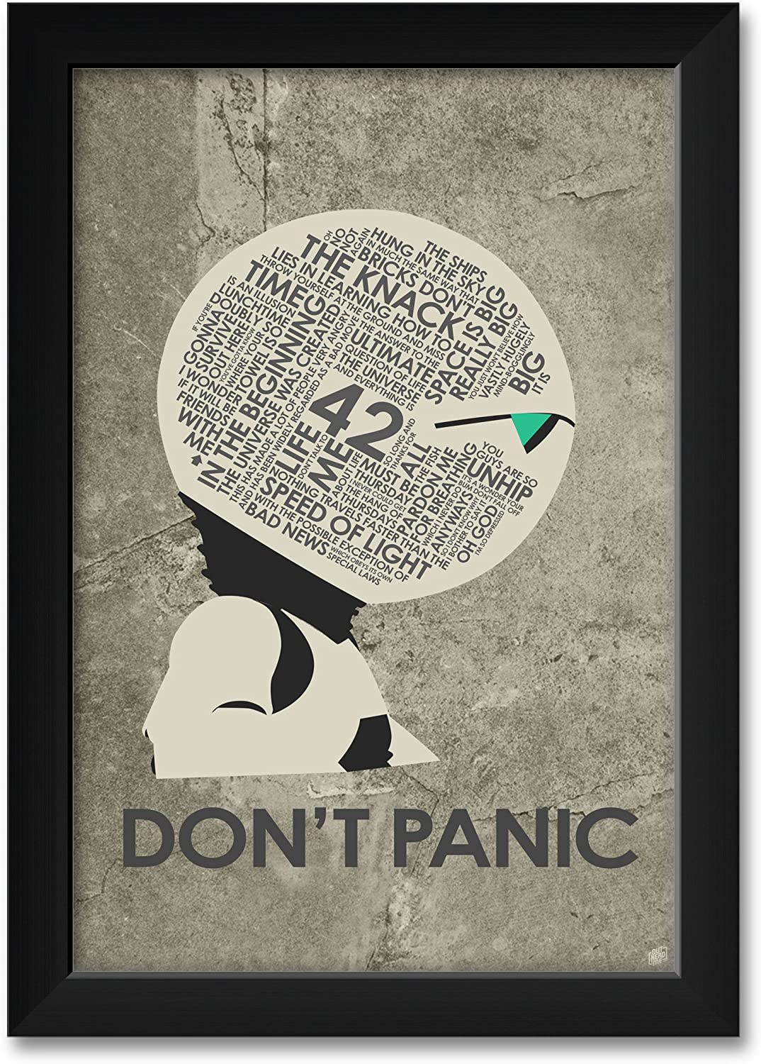 Amazon Com Hitchhiker S Guide To The Galaxy Don T Panic Giclee Art Print Poster From Typography Drawing By Pop Artist Stephen P 12 X 18 Posters Prints