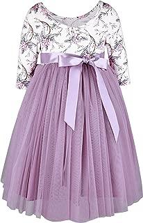 Girls Dresses Easter Tulle Party Dress Floral Toddler Dress 3/4 Sleeves