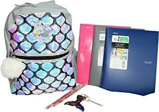 8 pc Iridescent Sequin Mermaid Backpack for Girls with Keychain, Scented Pencils, More