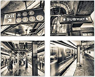 Infinity Creations Big City Lights: New York Subway Fast Track Vision (Set of 4): Modern Art Decor Unframed Photo Prints (8