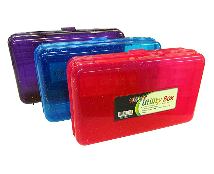 Set of 3 GLITTER Utility Storage Box for School Supplies or Arts & Crafts 8