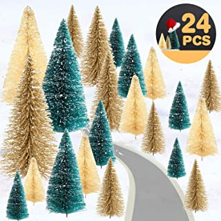 24PCS Mini Christmas Trees Artificial Frosted Sisal Tree with Wood Base Bendable Wire Bottle Brush Trees for DIY Christmas Village and Table Top Decor Winter Crafts Ornaments Green, Gold and Ivory