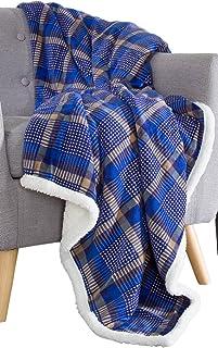 Bedford Home 61A-01645 Fleece Sherpa Blanket Throw-Plaid Blue/Yellow
