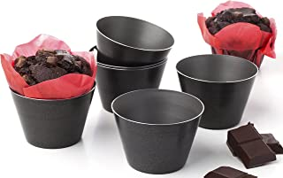 Nonstick Individual Molds Chocolate Molten Pans Pudding Cups Souffle Pot Pie Brownies Popovers - Set of 6