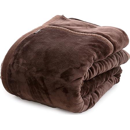 ナイスデイ mofua (モフア) 綿入り 毛布 シングル (140×200cm) ブラウン あったかさをためこむ 4層 構造 ぬくぬく 2枚合わせ 衿付き ふんわり ボリューム 冬用 洗える 1年間保証 56980106