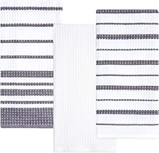 Sticky Toffee Cotton Waffle Weave Kitchen Dish Towels   3 Pack Kitchen Towels   28 in x 16 in   Absorbent Towels   Drying Towels   Cleaning Towels   Gray