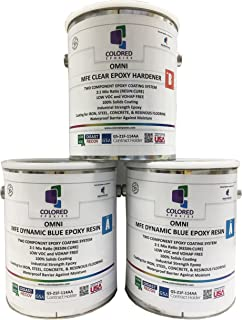 Coloredepoxies 10020 Light Blue Epoxy Resin Coating Made with Beautiful and Vibrant Pigments, 100% Solids, For Garage Floors, Basements, Concrete and Plywood. 3 Gallon Kit
