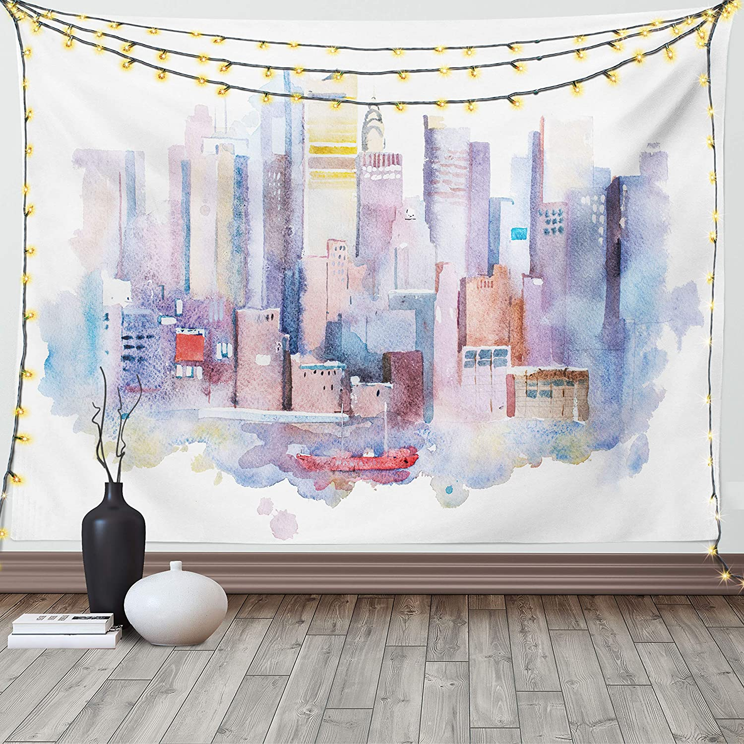 Ambesonne Cityscape Tapestry Watercolor View York sold out New Manhattan Popular product