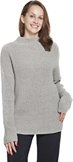 RLM Ladies Casual Oversize Mock Neck Long Sleeve Knit Pullover Sweater Top