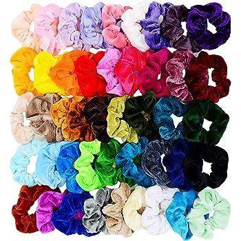 Chloven 45 Pcs Hair Scrunchies Velvet Elastics Hair Bands Scrunchy Hair Tie Ropes Scrunchie for Women Girls Hair Accessories Scrunchies - Great Gift for Holiday Seasons