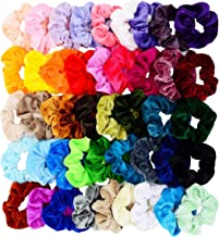 Chloven 45 Pcs Hair Scrunchies Velvet Elastics Bobbles Hair Bands Scrunchy Hair Tie Ropes Scrunchie for Women Girls Hair Accessories- 45 Assorted Colors Scrunchies