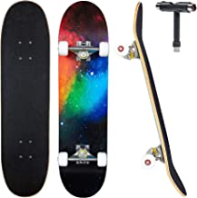 """JECOLOS Pro Skateboard Complete 7 Layers Deck 31""""x8"""" Skate Board Maple Wood Longboards for Adults Teens Youths Beginners G..."""