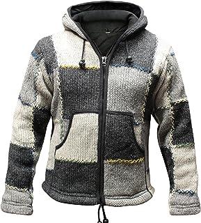 Shopoholic Fashion Superwarm feest kleurrijke patches Nepalese wollen jas met capuchon, hippy boho