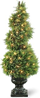 National Tree 48 Inch Upright Juniper Spiral Tree with 100 Clear Lights in Decorative Urn (LCYSP4-320-48)
