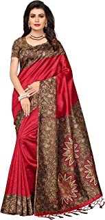 ishin Art Silk Saree with Blouse Piece_Red (Free size)