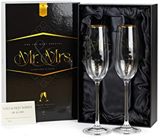 Luxury Crystal Wedding Champagne Glasses for Toasting | Gold Mr. Mrs. Toast Flutes Set for Bride and Groom | Elegant Champaign Gift for His and Hers Engagement Party, Bridal Shower, Couple Anniversary