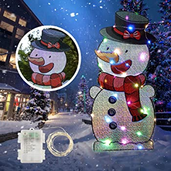 INFLATION Christmas Yard Sign with Stakes and String Lights,Xmas Holiday Winter Wonderland Snowman Yard Sign Outdoor Lawn Yard Christmas Decorations