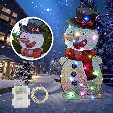 Inflation Christmas Yard Sign With Stakes And String Lights Xmas Holiday Winter Wonderland Snowman Yard Sign Outdoor Lawn Yard Christmas Decorations Garden Outdoor