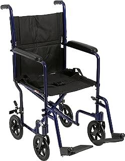 FW17BL - Flyweight Lightweight Folding Transport Wheelchair, 17, Blue Frame, Black Upholstery