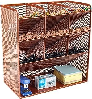EasyPAG Mesh Desk Organizer Multi-Functional Pen Holder Stationary Organizer for School Home Office Art Supplies,Rose Gold