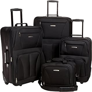 Journey Softside Upright Luggage Set, Black, 4-Piece...