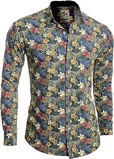 Men's Casual Dress Shirt Floral Printed 100% Cotton Slim Fit Vivid Colours Stag