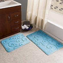 2 pc Memory Foam Bath Mat Set by Bedford Home -Coral Fleece Embossed Pattern – Blue